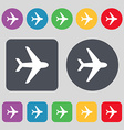 Plane icon sign A set of 12 colored buttons Flat vector image vector image