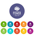 powerful icons set color vector image vector image