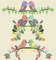 Set of borders with lovebirds vector image