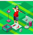 Shooting 2016 Summer Games Isometric 3D vector image vector image