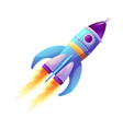 space ship launch rocket with fire trace and smoke vector image vector image