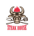 steak house emblem template with bull head design vector image vector image