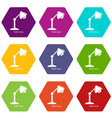 table lamp icons set 9 vector image vector image