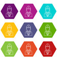 train conductor icons set 9 vector image vector image