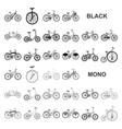various bicycles black icons in set collection for vector image vector image