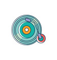 vinyl lp record melody sound music line and fill vector image
