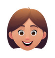 young woman head avatar cartoon face character vector image