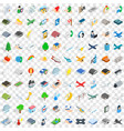100 airport icons set isometric 3d style vector image vector image