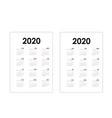 2020 calendar templatecalendar 2020 set 12 vector image vector image