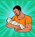 african father with newborn family husband vector image