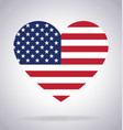 american usa flag in heart shape vector image