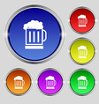 Beer glass icon sign Round symbol on bright vector image vector image