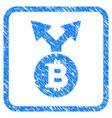 bitcoin bifurcation framed stamp vector image vector image