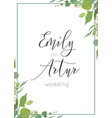 botanical watercolor style wedding invitation vector image