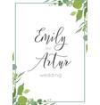botanical watercolor style wedding invitation vector image vector image