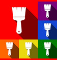 brush sign set of icons with vector image vector image