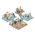 business center with people at work in offices vector image