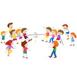 children playing tug a war vector image vector image