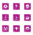 cinema technology icons set grunge style vector image vector image