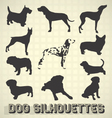 collection dog silhouettes vector image