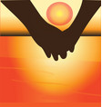 couple holding hands at sunset vector image vector image