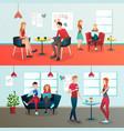 creative coworking interior composition vector image vector image