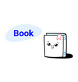 Cute book cartoon comic character with smiling