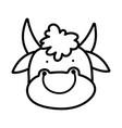 cute bull face farm animal cartoon thick line vector image