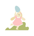 cute bunny in pink dress running with egg happy vector image vector image