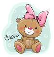 cute drawing bear girl on a blue background vector image vector image