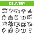 delivery line icon set fast transportation vector image vector image