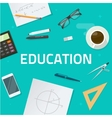 Education objects on work desk school math lesson vector image vector image
