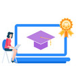 electronic education student with laptop vector image vector image