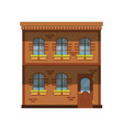 facade of the two story building city house vector image