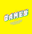 games alphabet 3d bold style vector image vector image