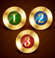 golden ranking number one two three vector image vector image