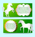 green banners set with jumping white horse vector image vector image