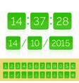 green flat countdown timer with flip calendar vector image vector image