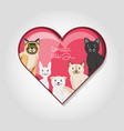 group of domestic cats in the heart vector image
