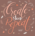 hand lettering text - create sleep repeat It is vector image