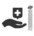 hand offer medical shield icon with men bonus vector image vector image