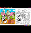 happy farm animal characters group coloring book vector image vector image