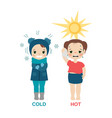 hot and cold girl hot and cold girl vector image vector image