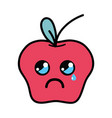 kawaii cute crying apple fruit vector image vector image