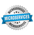 microservices round isolated silver badge vector image vector image