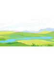 panorama of hills with small river vector image vector image