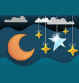 paper art moon fluffy clouds and stars in vector image vector image