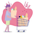 people hoarding purchase young man with shopping vector image
