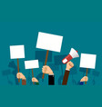 people hold banners and posters in their hands vector image vector image