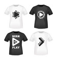 play button stamp and t shirt mockup vector image
